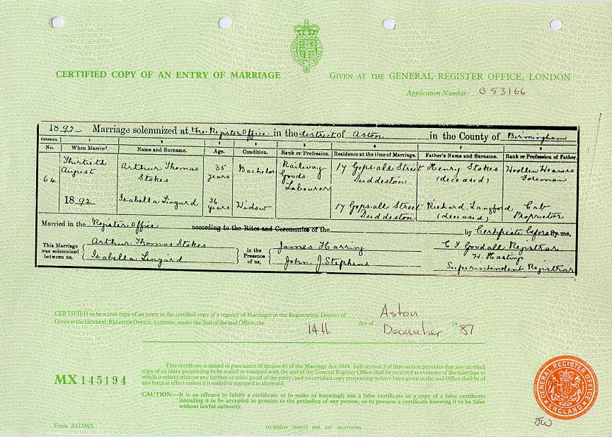 Arthur Thomas Stokes and Isabella Linyard 1892 (Marriage Certificate).jpg