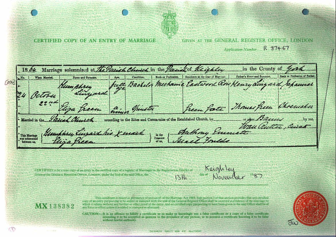 Humphry Linyard and Eliza Green 1864 (Marriage Certificate).jpg