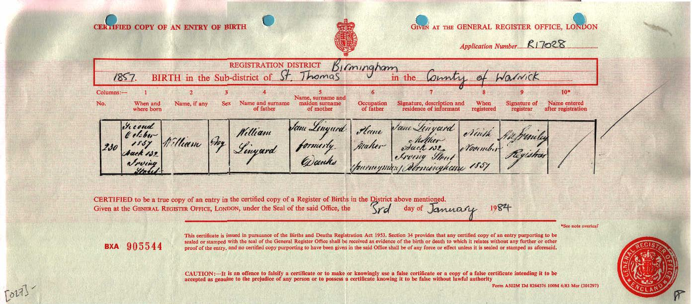 William Linyard 1857-1888 (Birth Certificate).jpg